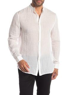 John Varvatos Pintucked Wing Collar Trim Fit Shirt