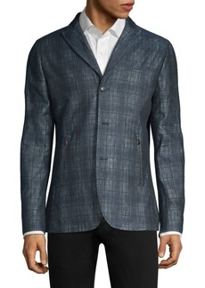 John Varvatos Plaid Linen-Blend Tailored Jacket