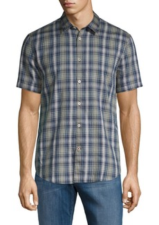 John Varvatos Plaid Short-Sleeve Button-Down Shirt