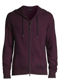 John Varvatos Richmond Long-Sleeve Marled Wool-Blend Zip Hoodie