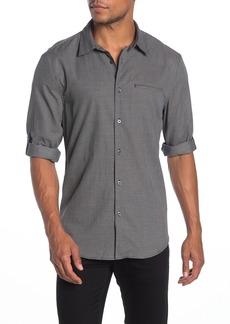 John Varvatos Roll-Up Sleeve Print Slim Fit Sport Shirt