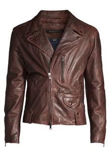John Varvatos Sammy Waxed Leather Biker Jacket