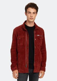 John Varvatos Shilo Wrinkled Suede Shirt Jacket