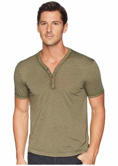 John Varvatos Short Sleeve Burnout Snap Henley