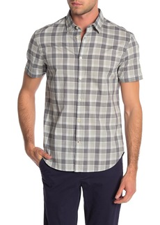 John Varvatos Short Sleeve Check Print Trim Fit Woven Shirt