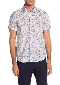 John Varvatos Floral Short Sleeve Trim Fit Shirt