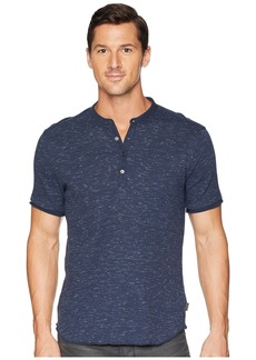 John Varvatos Short Sleeve Space-Dye Waffle Henley with Raw Cut K3777U2B