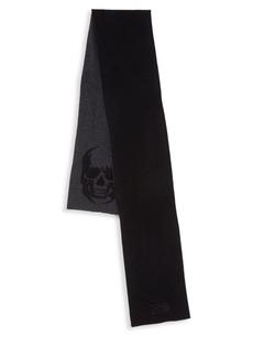 John Varvatos Skull Intarsia Knit Merino Wool Scarf