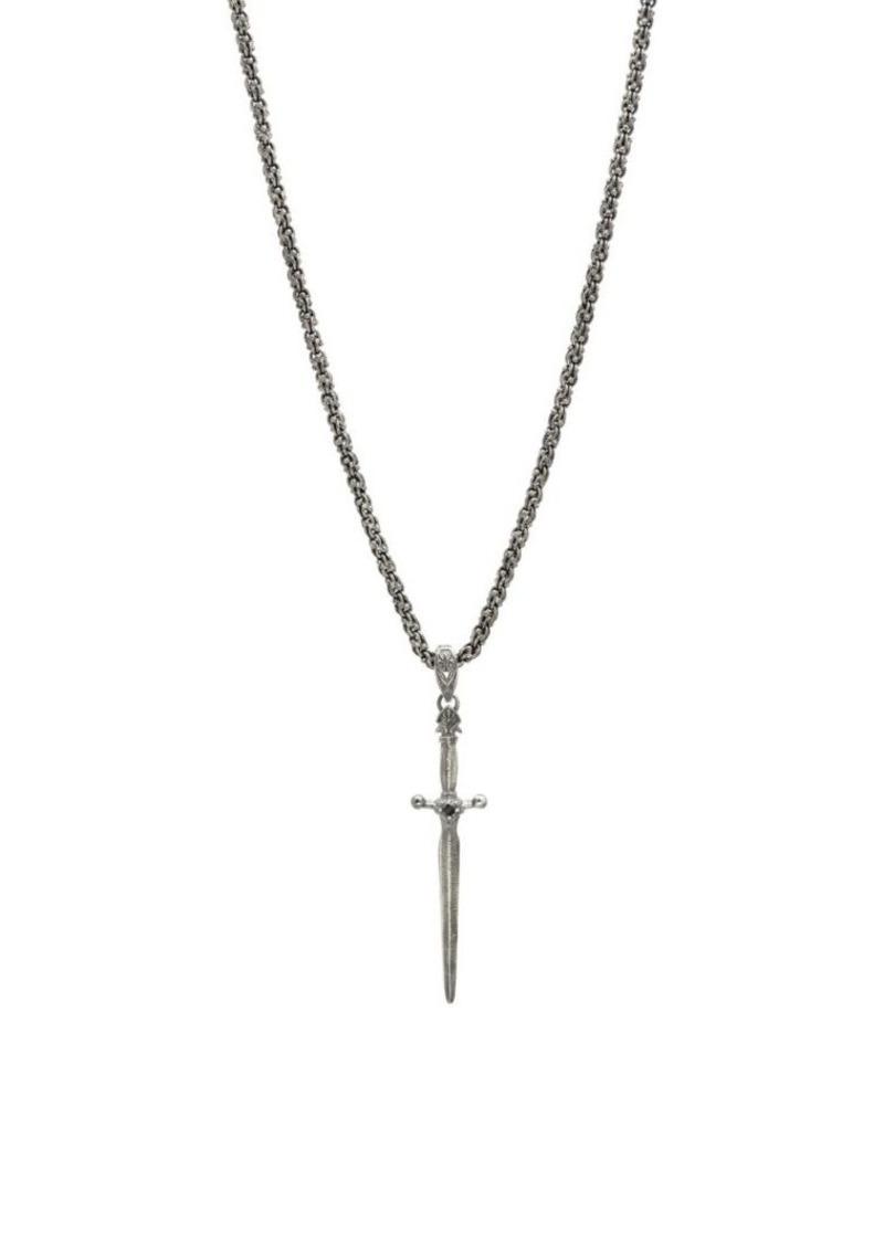 John Varvatos Skulls & Daggers Sterling Silver & Black Diamond Skull Necklace