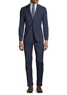 John Varvatos Slim-Fit Grid-Jacquard Wool Two-Piece Suit