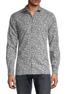 John Varvatos Slim-Fit Printed Long-Sleeve Shirt