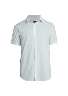 John Varvatos Slub-Print Short-Sleeve Shirt