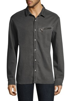 John Varvatos Snap Front Zipper Shirt