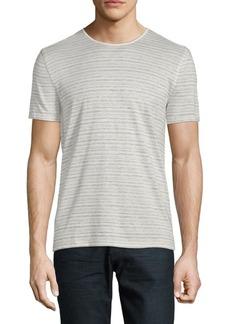 John Varvatos Striped Linen, Cotton & Silk Tee