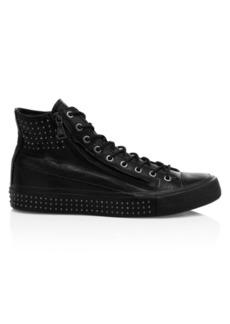 John Varvatos Studded Double-Zip Vulcanized Mid-Top Sneakers