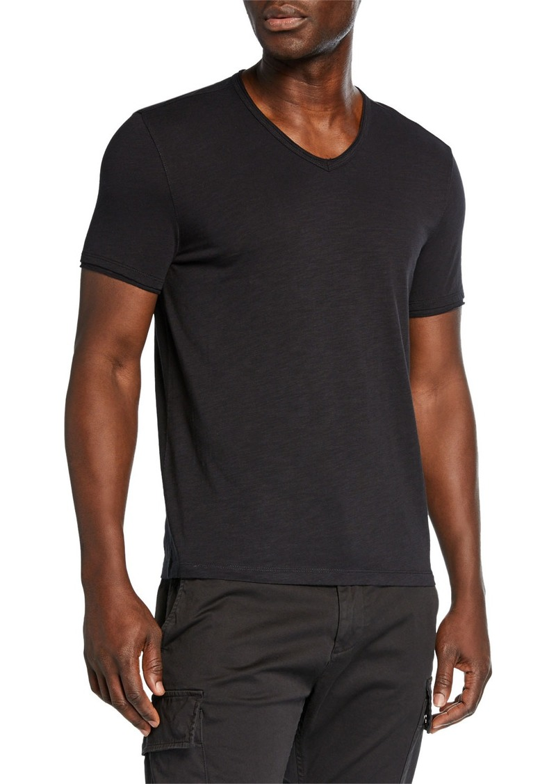 John Varvatos V-Neck Raw-Edge Slub T-Shirt