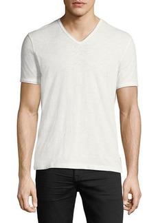 John Varvatos V-Neck Raw-Edge Slub T-Shirt