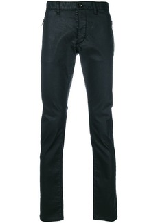 John Varvatos wet look slim trousers
