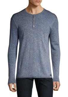 John Varvatos Wool-Blend Marled Long-Sleeve Shirt