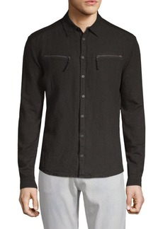 John Varvatos Woven Front Linen & Cotton Button-Down Shirt