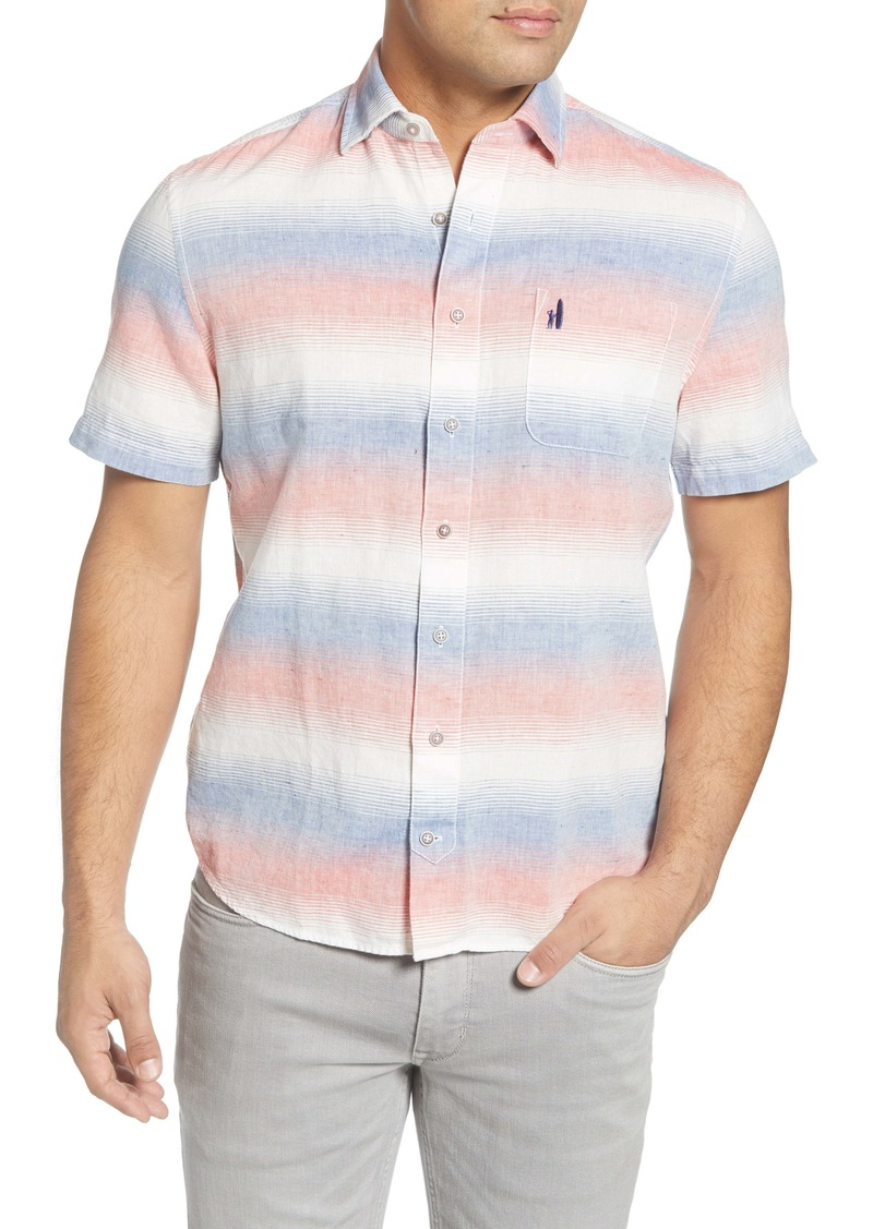 johnnie-O Donnie Classic Fit Stripe Short Sleeve Button-Up Shirt
