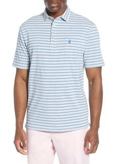 johnnie-O Gray Striped Jersey Polo