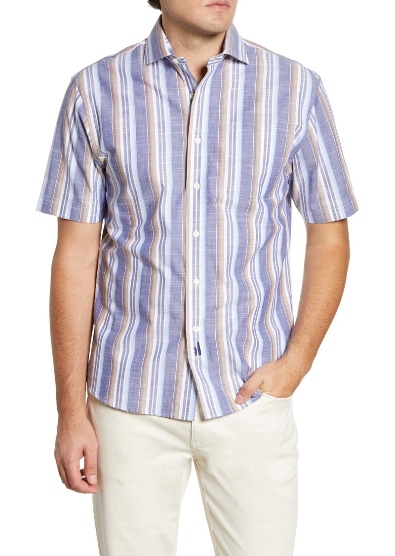 johnnie-O Hangin' Out Cox Stripe Short Sleeve Button-Up Shirt
