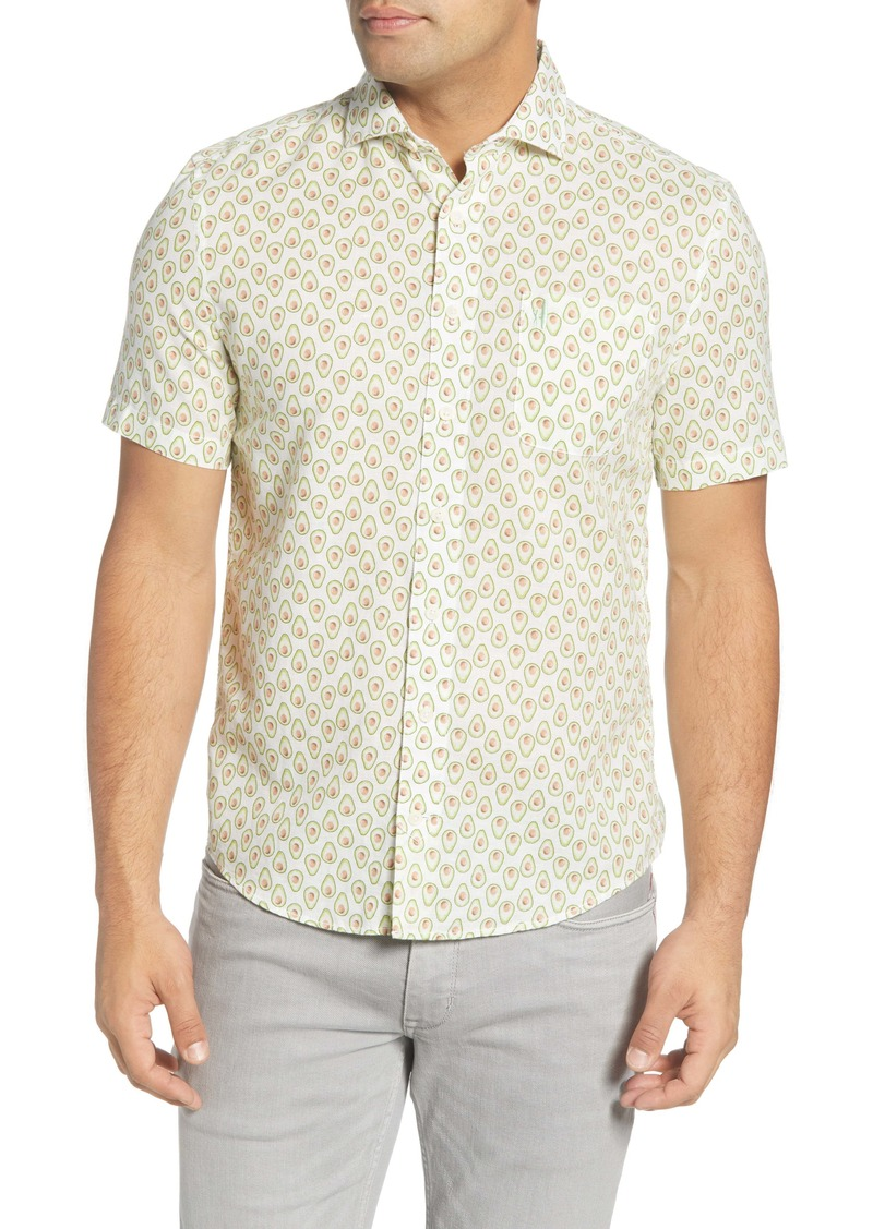 johnnie-O Hangin' Out Russel Avocado Print Short Sleeve Button-Up Shirt