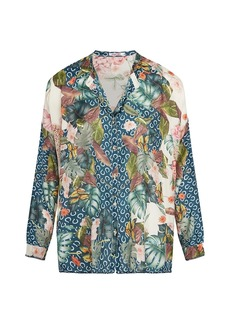 Johnny Was Abina Printed Silk Button-Up Blouse