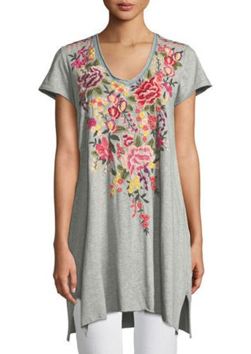 393a606c93d Johnny Was Adeline Short-Sleeve Draped Long V-Neck Tunic   Casual Shirts