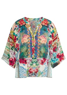 Johnny Was Adelyn Floral Print Silk Blouse