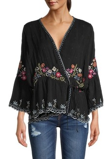 Johnny Was Aiden Floral Embroidery Wrap Top
