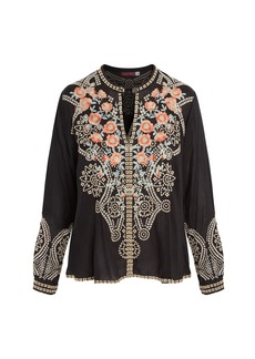Johnny Was Alani Floral Embroidered Keyhole Blouse