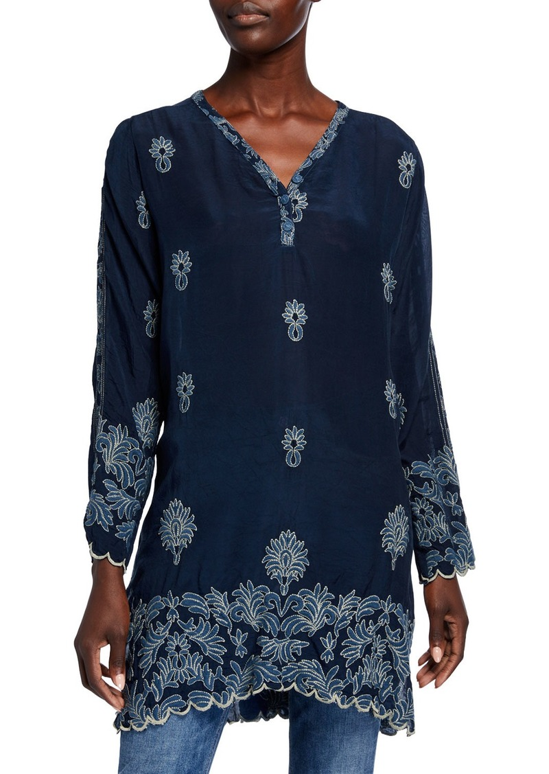 Johnny Was Alex Button-Neck Long-Sleeve Tonal Embroidered Tunic