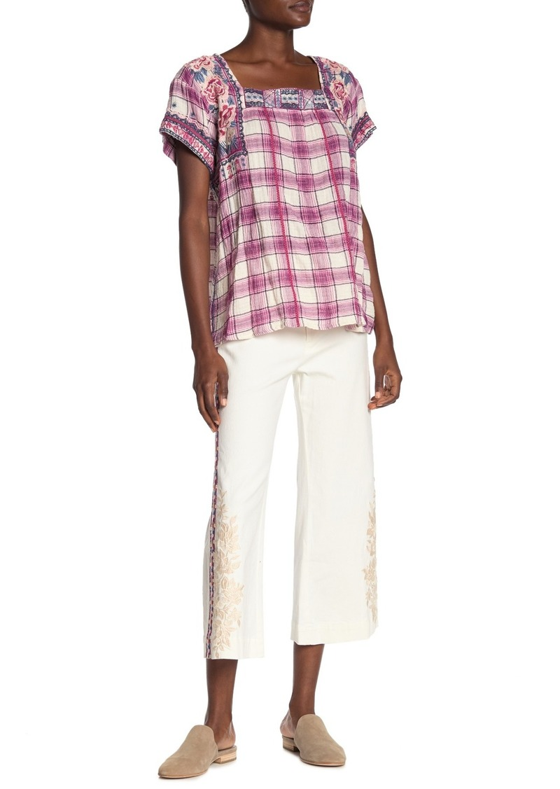 Johnny Was Allegra Embroidered Side Pants