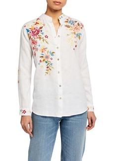 Johnny Was Amara Floral Embroidered Oversized Mandarin-Collar Shirt