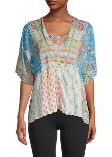 Johnny Was Amber Mixed-Print Top