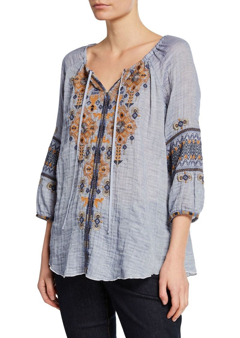 Johnny Was Amika Letizia 3/4-Sleeve Embroidered Gauze Top