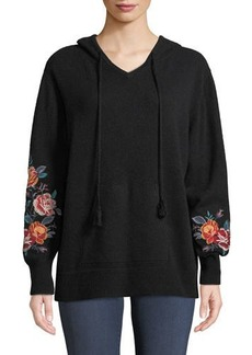 daca651239be0 Johnny Was Amira Cashmere Embroidered-Sleeve Hoodie