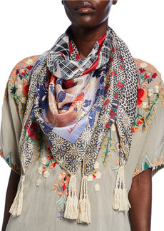 Johnny Was Ample Mixed-Print Silk Scarf