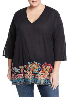 Johnny Was Araxi Floral-Embroidered Tunic Top