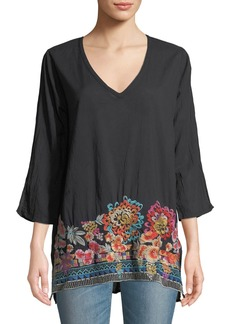 Johnny Was Araxi Floral Embroidery Cotton Tunic