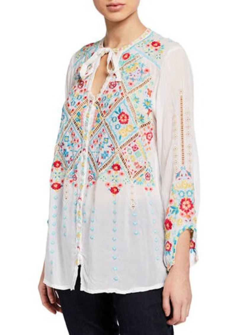 Johnny Was Arges Embroidered Georgette Blouse