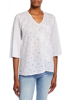 Johnny Was Aria 3/4-Sleeve Eyelet Blouse