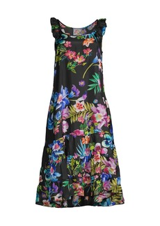 Johnny Was Aruba Elodie Floral Print Silk Dress
