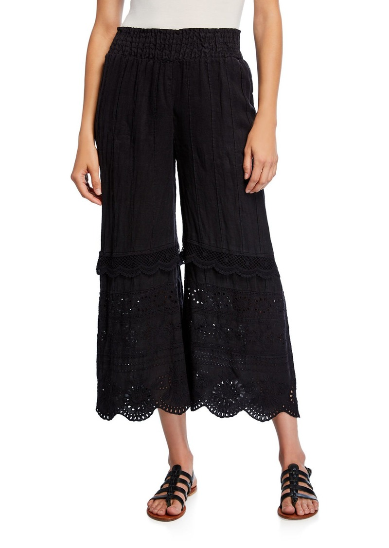 Johnny Was Aster Scallop-Edge Eyelet Wide-Leg Line Ankle Pants