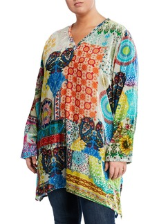 Johnny Was Asymmetric Velvet Long Tunic  Plus Size