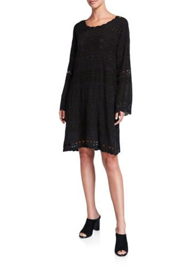 Johnny Was Avery Embroidered Scoop-Neck Long-Sleeve Dress