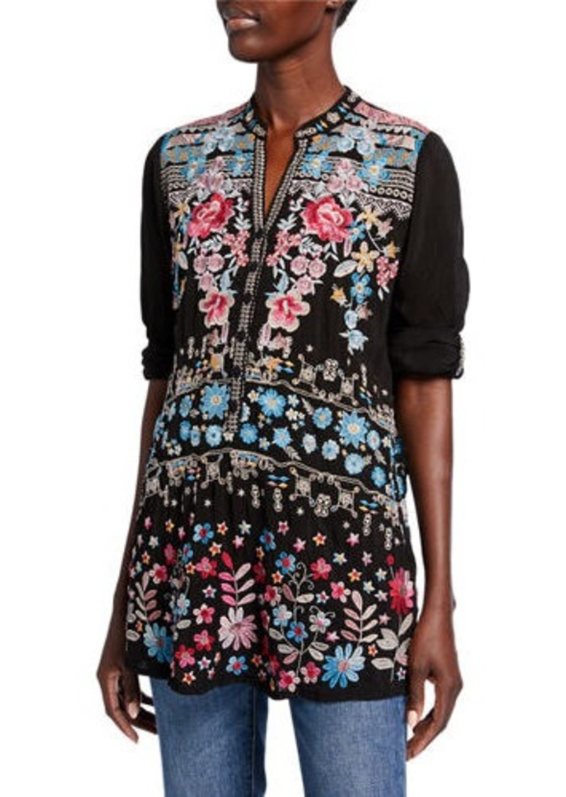 Johnny Was Bandit Multi-Embroidered V-Neck Roll-Sleeve Top