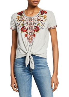 Johnny Was Beatriz Embroidered Short-Sleeve Tie-Hem T-Shirt